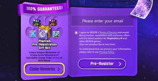 maplestory m pre register gift